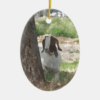 Watercolor Boer Goat Christmas Ornament