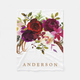Watercolor Bohemian Floral Burgundy Marsala Fleece Blanket