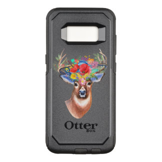 Watercolor Bohemian Floral Deer Head OtterBox Commuter Samsung Galaxy S8 Case