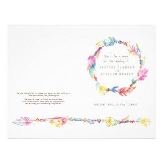 Watercolor boho feather wreath wedding programme