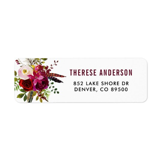 Watercolor Boho Floral Autumn Address Label