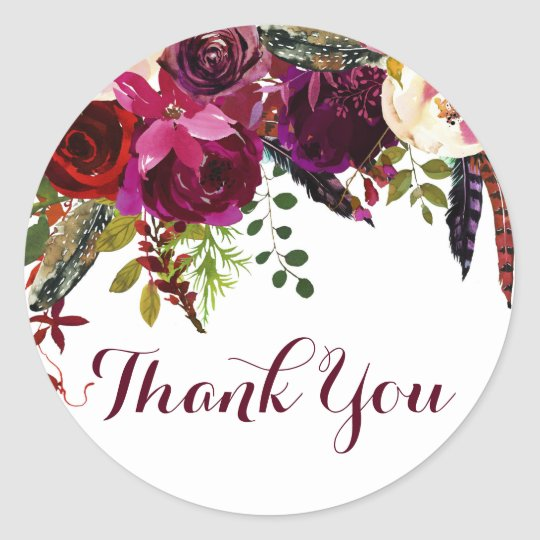 Watercolor Boho Floral Autumn Thank You Sticker