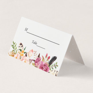 Watercolor Boho Floral Feather Wedding Table Place Card