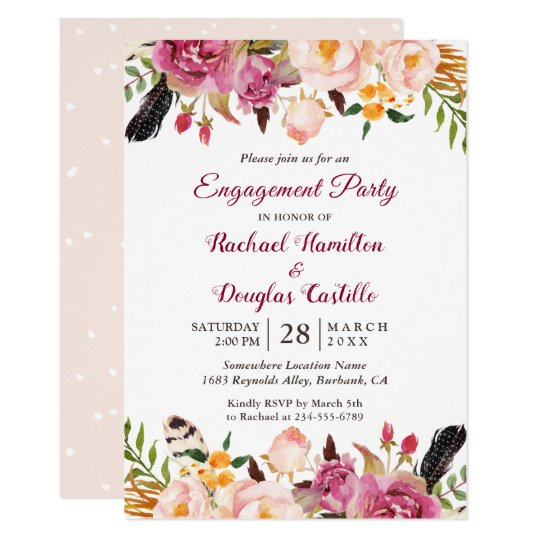 Watercolor Boho Floral Spring Engagement Party Card