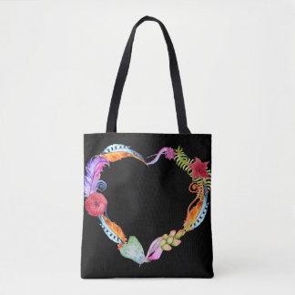 Watercolor Boho Heart Tote Bag