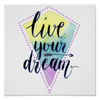 Watercolor boho style poster