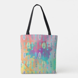 Watercolor Boho Tribal Chic Feathers Tote Bag