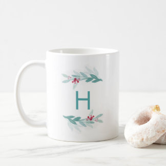 Watercolor Botanical Elegance Monogram Mug