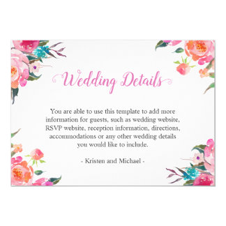 Watercolor Botanical Floral Wedding Details Info Card