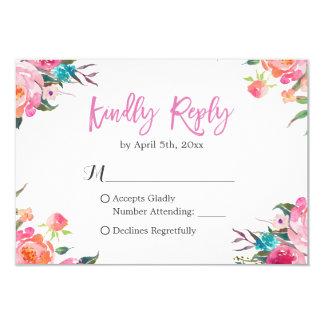 Watercolor Botanical Floral Wedding RSVP Response 9 Cm X 13 Cm Invitation Card