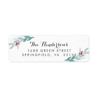 Watercolor Botanical Holiday Return Address Label