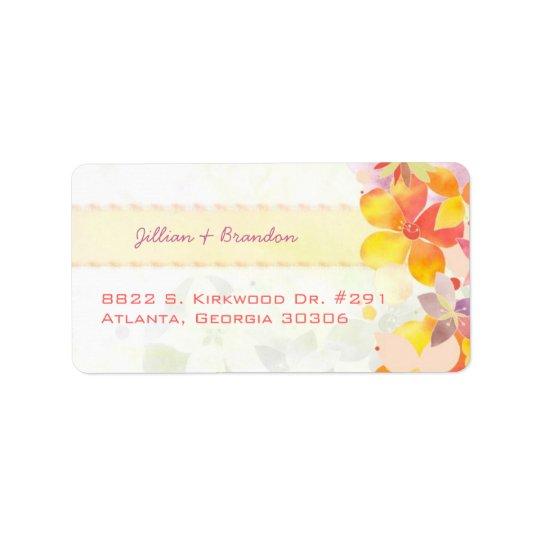 Watercolor Botanical Wedding Address Label