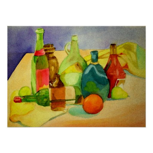 Watercolor Bottles Poster