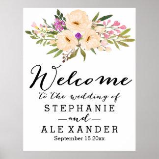 Watercolor Bouquet Anemones Wedding Poster