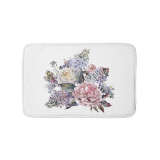 Watercolor Bouquet Bath Mats