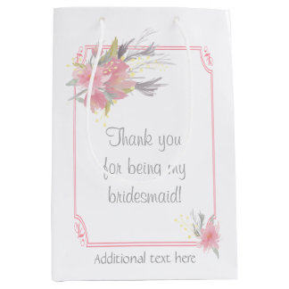 Watercolor Bouquet Floral Bridesmaid Gift Wedding Medium Gift Bag