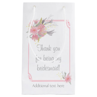 Watercolor Bouquet Floral Bridesmaid Gift Wedding Small Gift Bag