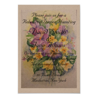Watercolor bouquet of pansies-rehearsal dinner custom invites