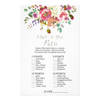 """Watercolor Bouquet """"What's In Your Purse"""" Game 14 Cm X 21.5 Cm Flyer"""