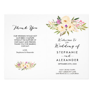 Watercolor Bouquets Anemones Wedding Program Flyer