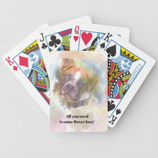 Watercolor Boxer Dog Bicycle Playing Cards