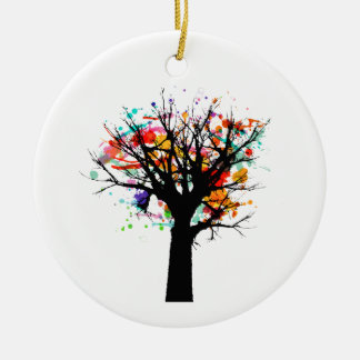 Watercolor branchy tree design round ceramic decoration