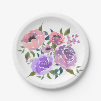 Watercolor Bright Chic Flowers Bunch Paper Plate