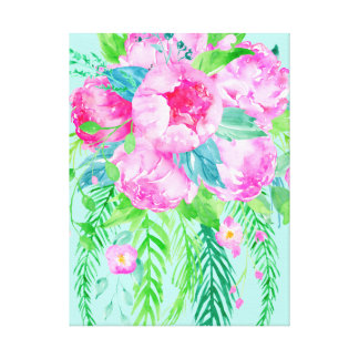 Watercolor Bright Pink Peony Canvas Print