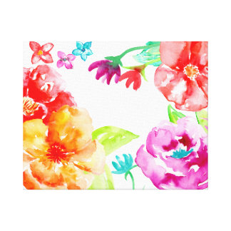 Watercolor Bright Red Flowers Canvas Print
