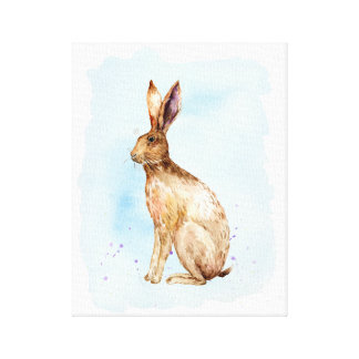 Watercolor Brown Hare Portrait Canvas Print