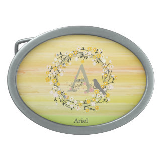Watercolor Brush Lines, Spring Wreath Monogram Belt Buckles