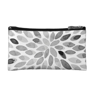Watercolor brush strokes – black and white makeup bag