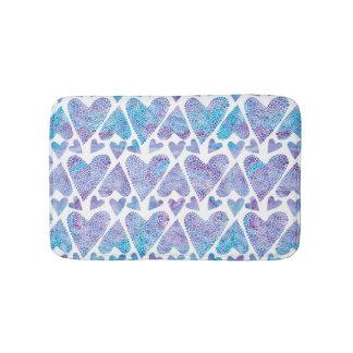 Watercolor Bubble Hearts teal purple lavender Bath Mats