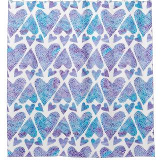 Watercolor Bubble Hearts teal purple lavender Shower Curtain
