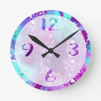 Watercolor Bubbles Variation Round Clock