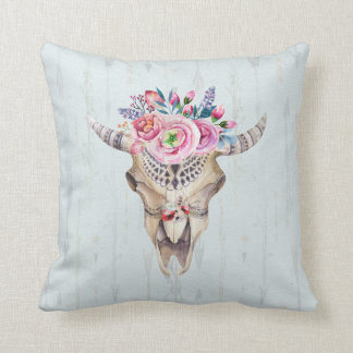 Watercolor Bull Skull And Colorful Roses Throw Pillow
