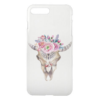 Watercolor Bull Skull And Flowers iPhone 7 Plus Case