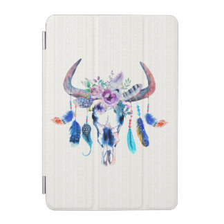 Watercolor Bull Skull With Flowers And Horns iPad Mini Cover