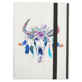Watercolor Bull Skull With Purple Flowers And Buds Case For iPad Air
