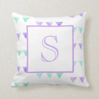 Watercolor Bunting Flag Monogrammed Throw Pillow