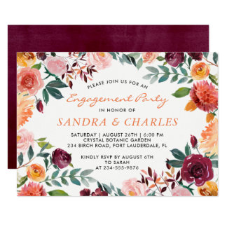 Watercolor Burgundy Floral Engagement Party Card