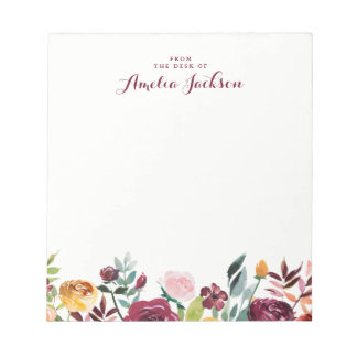 Watercolor Burgundy Floral Personalized Stationery Notepad