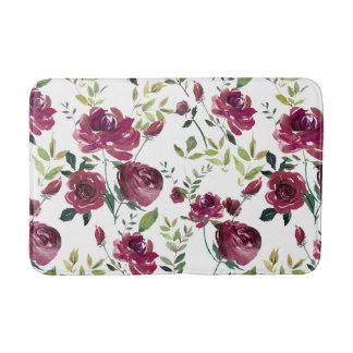Watercolor Burgundy Flowers | Floral Pattern Bath Mat