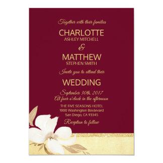 Watercolor Burgundy Gold Wedding Invitation