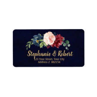 Watercolor Burgundy Red Navy Floral Address label