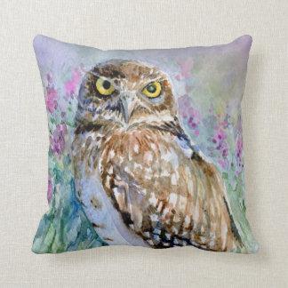 Watercolor Burrowing owl Athene cunicularia Cushion