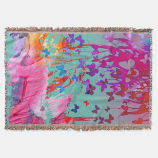 Watercolor Butterflie Throw Blanket