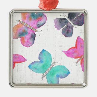 Watercolor Butterflies Christmas Ornament