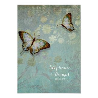 Watercolor Butterflies w Modern Floral Wedding Card