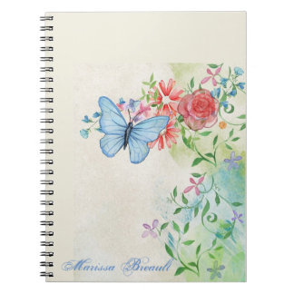 Watercolor Butterfly And Flowers Notebook